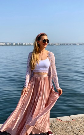 PINK PLEATED MAXI SKIRT by Love Modest Fashion