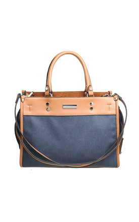 THREE COMPARTMENT TWO TONE TOTE BAG by BESSIE LONDON
