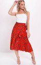 Leopard animal print wrap ruffle midi skirt red by LILY LULU FASHION