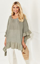 Khaki Linen Frill Hem Top by Lilah Rose