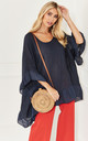 Navy Linen Frill Hem Top by Lilah Rose