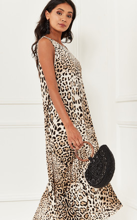 Sleeveless Leopard Print Maxi Dress by Bella and Blue