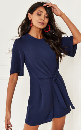 Tie Front Playsuit in Navy Blue by Bella and Blue