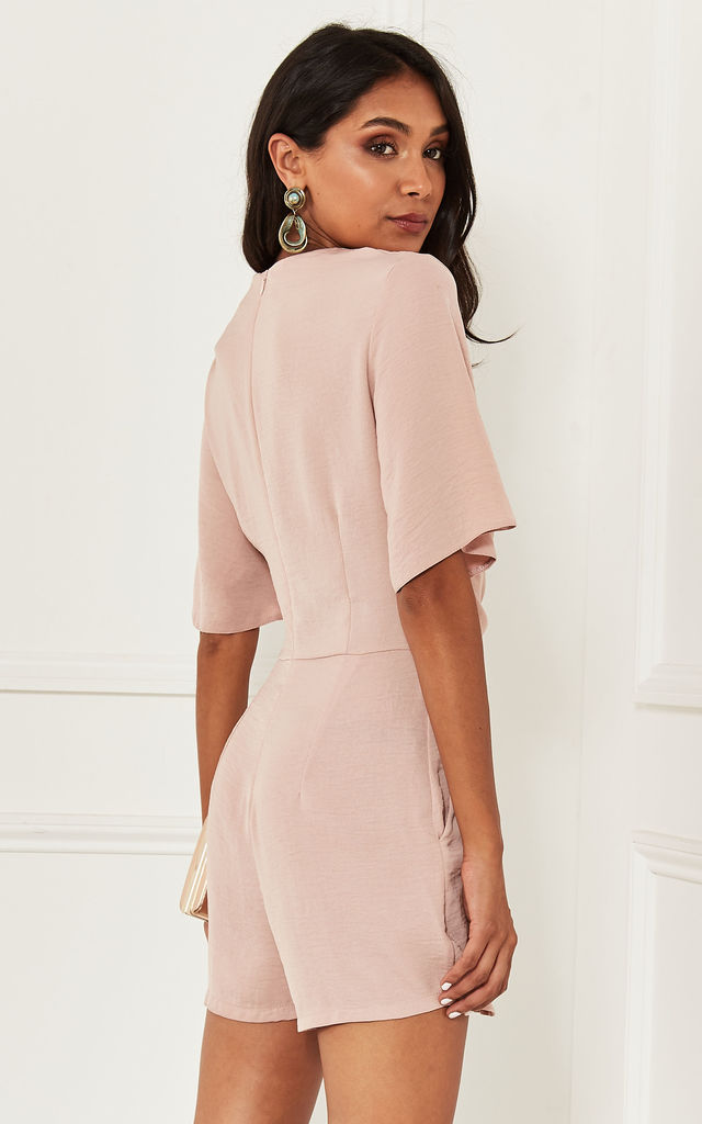 Tie Front Playsuit in Blush Pink by Lilah Rose
