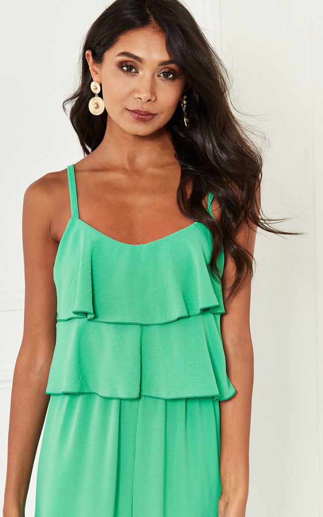 Green Strappy Ruffle Jumpsuit by Bella and Blue