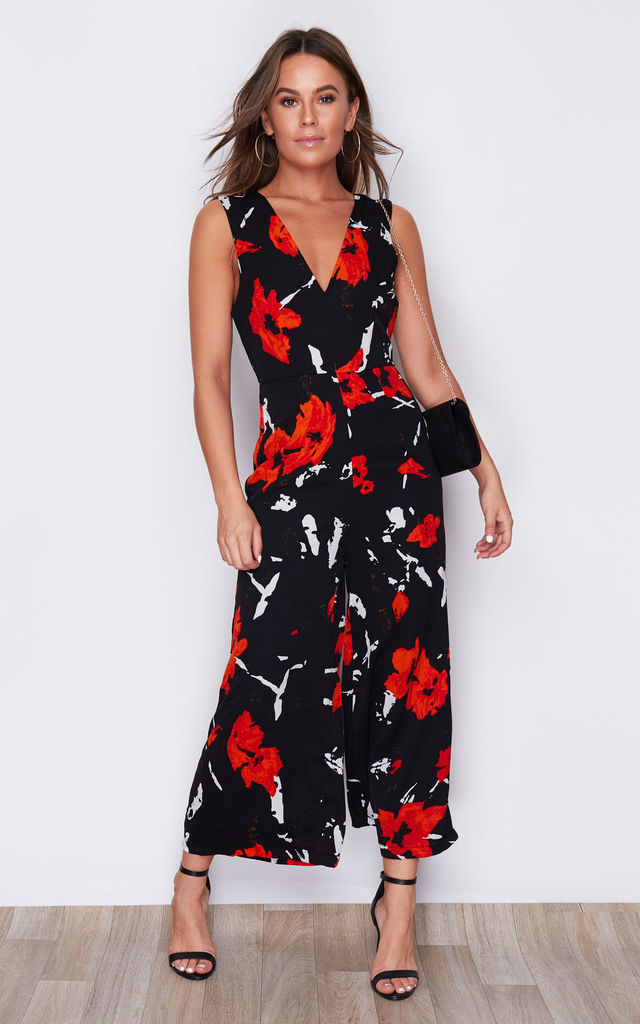 Polly Floral Print V Neck Culotte Jumpsuit Black/Orange by Girl In Mind