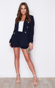 Kallie Pearl Embellished Frill Blazer Navy by Girl In Mind