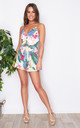 Cali Button Front Frill Short Playsuit Tropical Print by Girl In Mind
