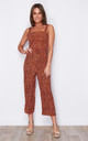 Kyrie Square Neck Tie Waist Jumpsuit Orange Leopard by Girl In Mind