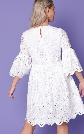 Broderie anglaise flare sleeve gathered dress white by LILY LULU FASHION