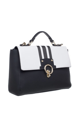 GOLD CLIP PORTFOLIO BAG in KHAKI BLACK by BESSIE LONDON