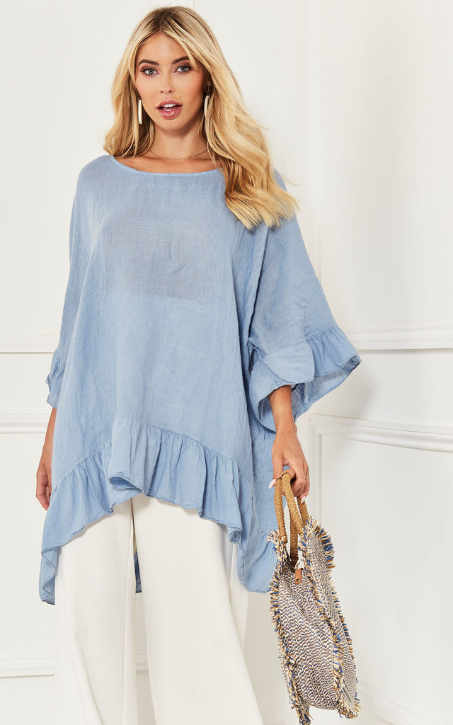 Denim Blue Linen Frill Hem Top by Lilah Rose