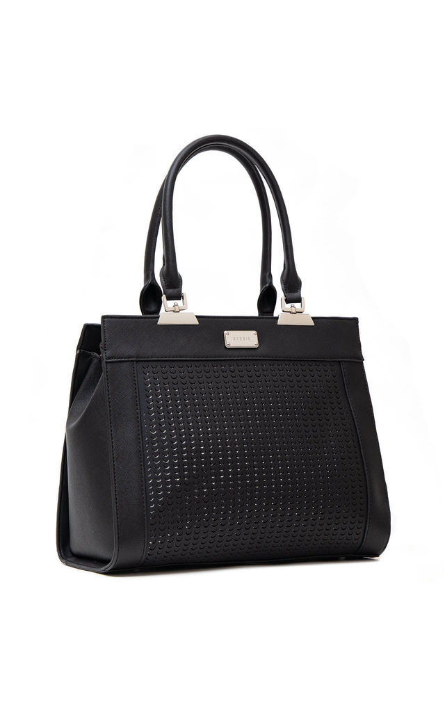 LASER CUT DOUBLE HANDLE TOTE BAG in BLACK by BESSIE LONDON