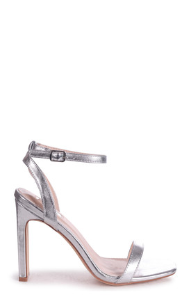 Bobbi Square Toe Heeled Sandals in Silver Metallic by Linzi