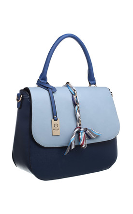 SILK RIBBON FLAP TOP TOTE BLUE by BESSIE LONDON