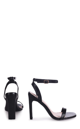 Bobbi Square Toe Heeled Sandals in Black Lizard by Linzi