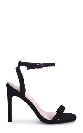Bobbi Square Toe Heeled Sandals in Black Suede by Linzi