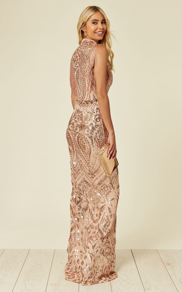 MAGIC VIP EMBELLISHED ILLUSION MAXI OCCASION DRESS WITH TASSELS and SEQUINS in ROSE GOLD by Nazz Collection