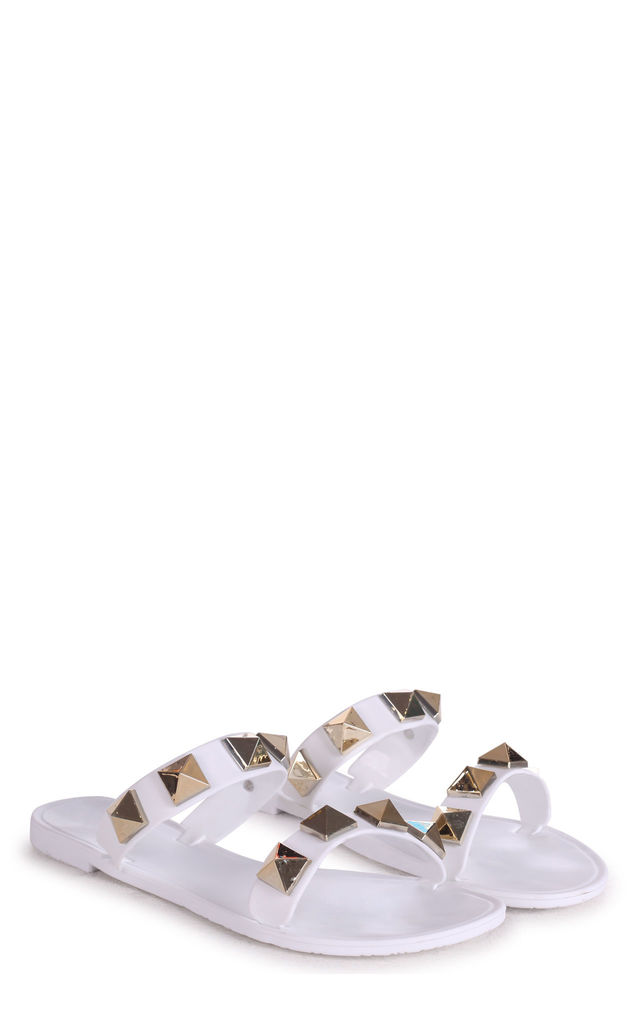 Dina White Slip On Jelly Slider With Large Studded Detail by Linzi