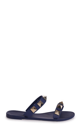 Dina Navy Slip On Jelly Slider With Large Studded Detail by Linzi