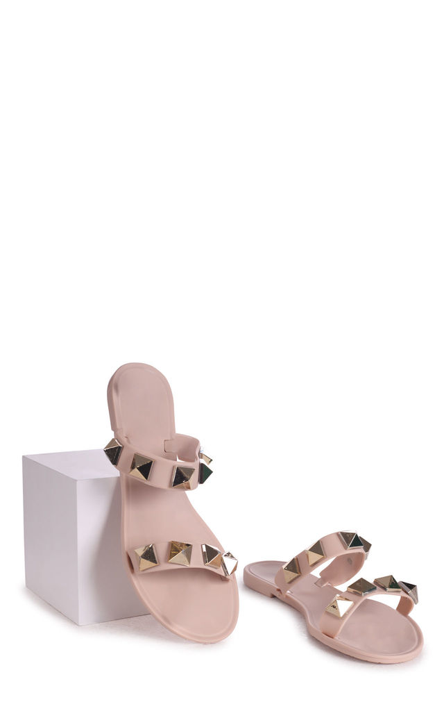 Dina Nude Jelly Sliders With Studs by Linzi