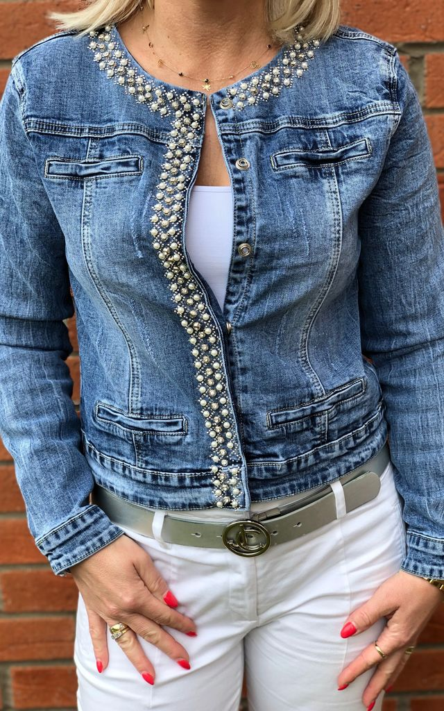 BLUE DENIM JACKET WITH SILVER CRYSTAL STUDS by E&A Fashion
