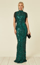 MAGIC VIP EMBELLISHED ILLUSION MAXI OCCASION DRESS WITH TASSELS and SEQUINS in GREEN by Nazz Collection