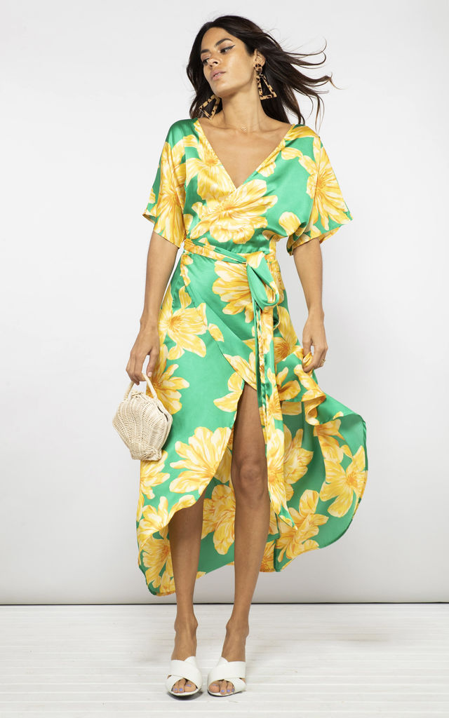 SAFFRON DRESS IN YELLOW ON GREEN BLOOM image