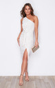 Alexa One Shoulder Knot Front Midi Dress White Lace by Girl In Mind