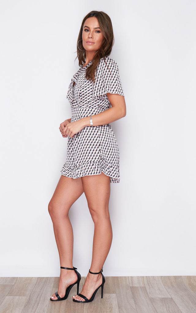 Lizzie Geo V Neck Frill Playsuit Multi by Girl In Mind