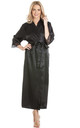 Black Long Satin Dressing Gown by BB Lingerie