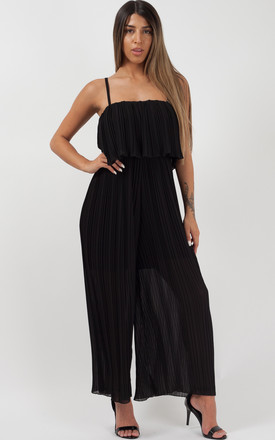 Bonnie Pleated Frill Cami Jumpsuit In Black by Vivichi Product photo