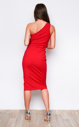 Alexa One Shoulder Knot Front Midi Dress Red by Girl In Mind