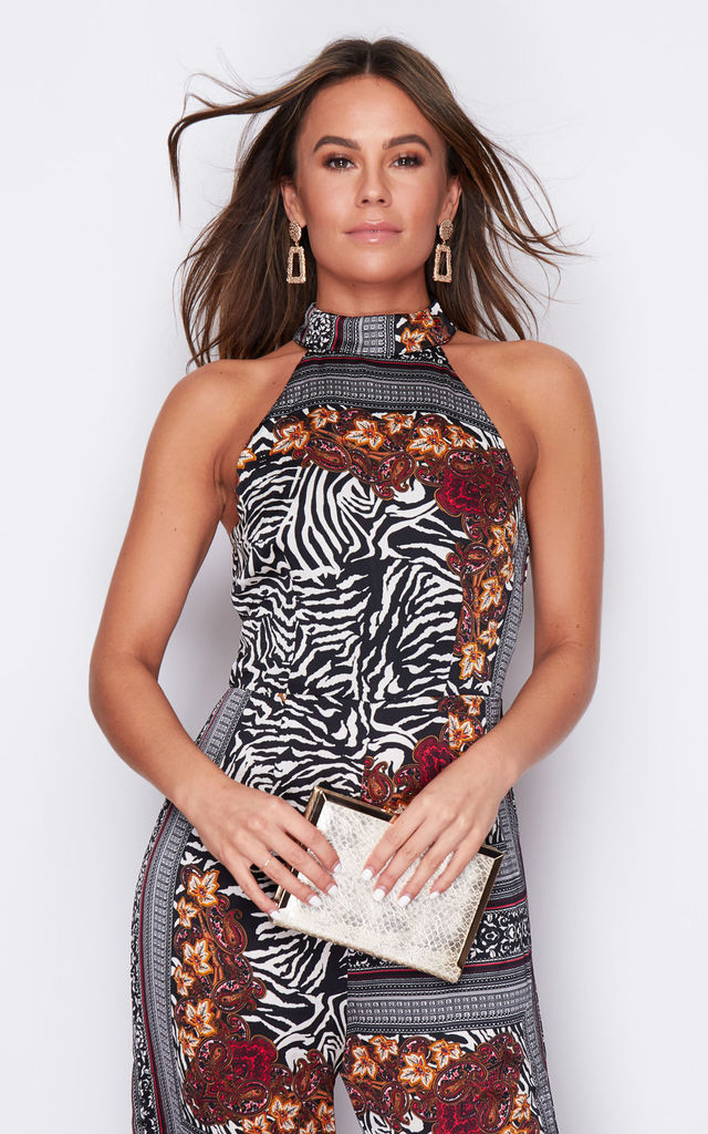 Kady Floral High Neck Sleeveless Jumpsuit Zebra Paisley by Girl In Mind