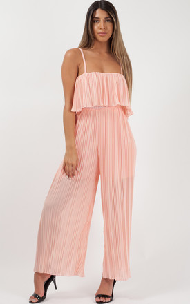 Bonnie Pleated Frill Cami Jumpsuit In Nude by Vivichi Product photo
