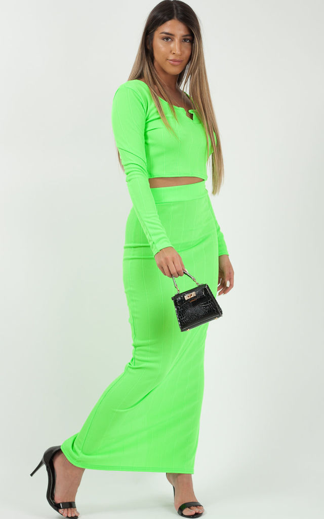 Lyla Bandage Crop Top & Skirt Co-ord In Neon Green by Vivichi