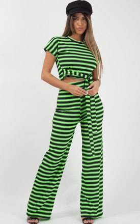 Selcan Striped Ribbed Crop Top & Trouser Co-ord In Neon Green by Vivichi