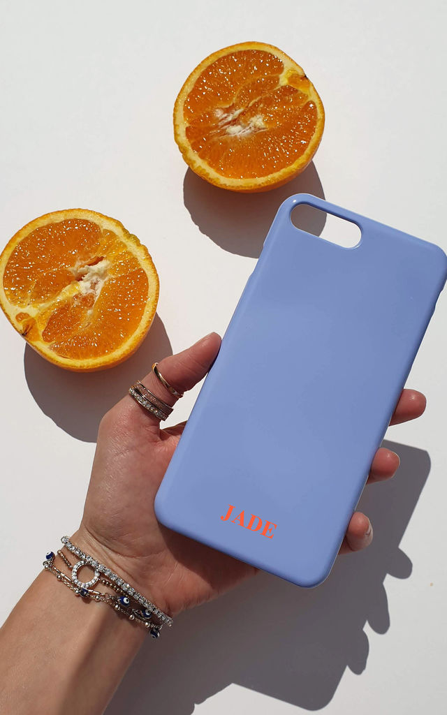 Powder blue and terracotta orange personalised phone case by Rianna Phillips
