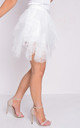 Tulle high waisted tiered mini skirt white by LILY LULU FASHION