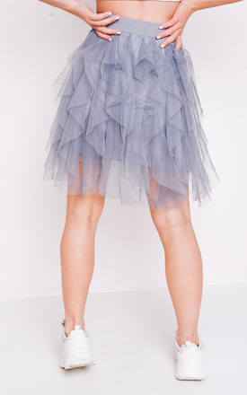 Tulle high waisted tiered mini skirt grey by LILY LULU FASHION