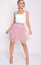 Tulle high waisted tiered mini skirt pink by LILY LULU FASHION