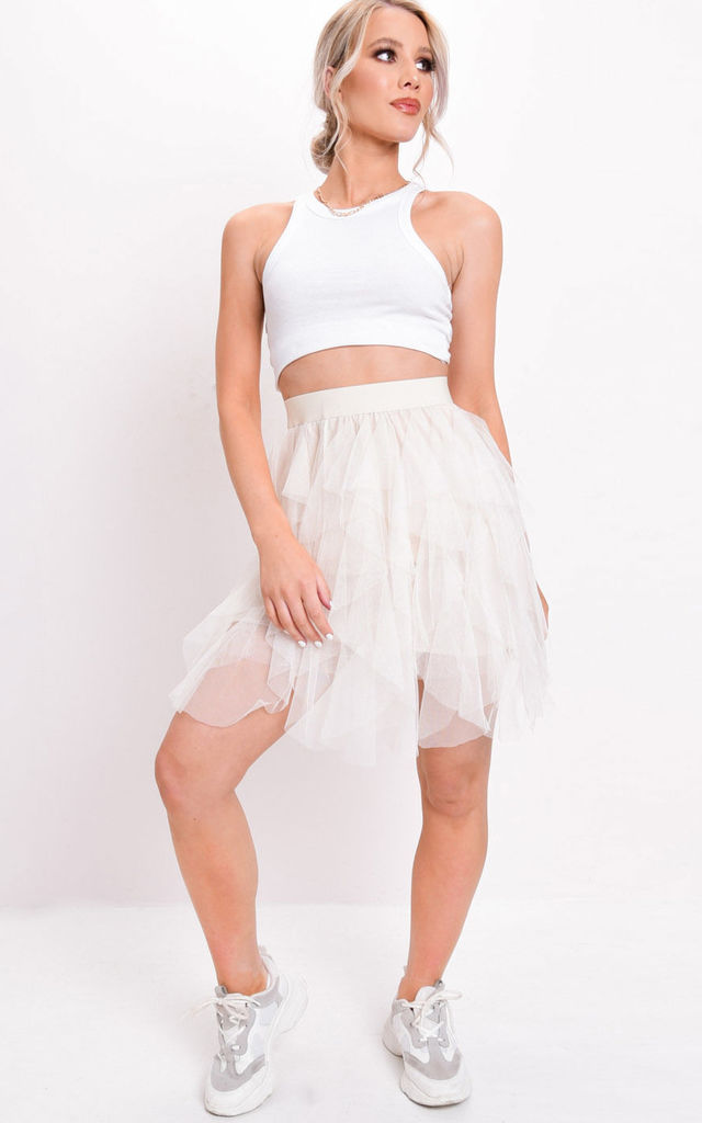 71b11f775f2197 Tulle High Waisted Tiered Mini Skirt Beige | LILY LULU FASHION ...