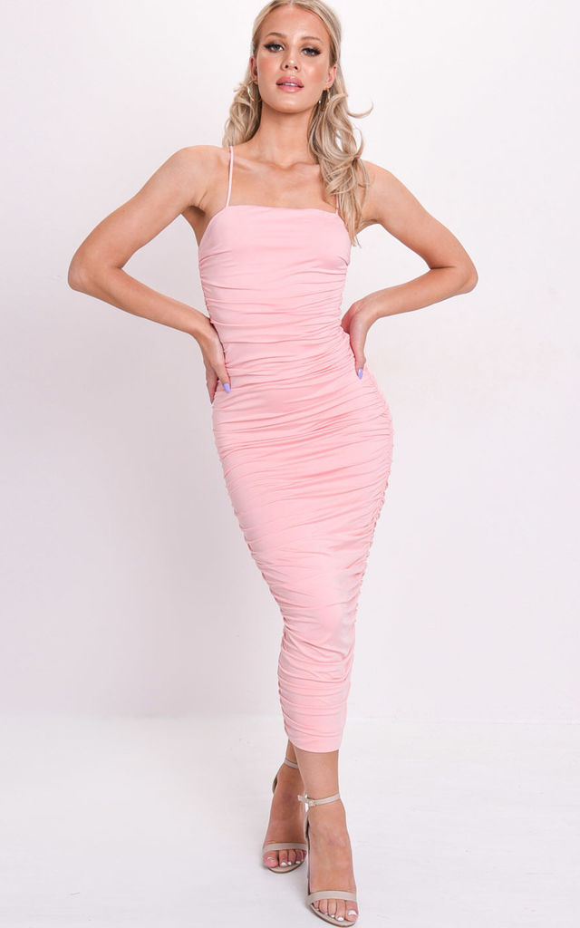 Ruched slinky skinny straps bodycon dress pink by LILY LULU FASHION