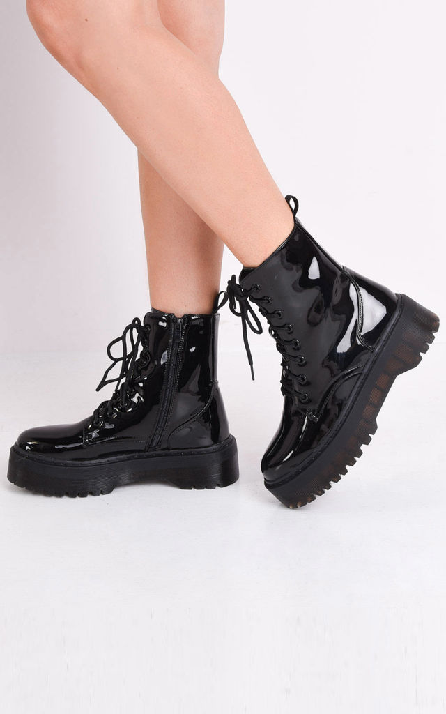 Patent lace up platform combat ankle boots black by LILY LULU FASHION