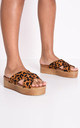 Leopard animal print espadrille look cross over flatform sliders multi by LILY LULU FASHION