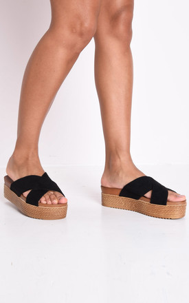 Espadrille look cross over flatform sliders black by LILY LULU FASHION