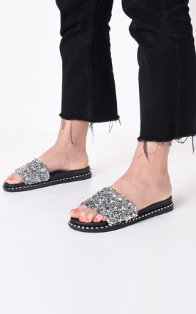 Cluster diamante studded sliders silver by LILY LULU FASHION