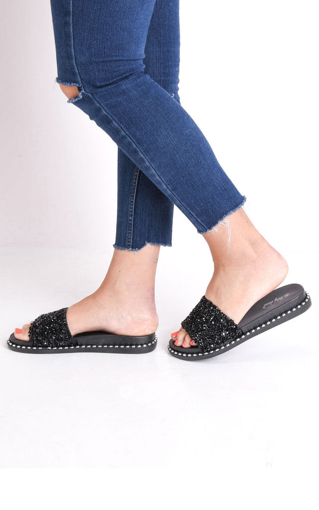 Cluster diamante studded sliders black by LILY LULU FASHION