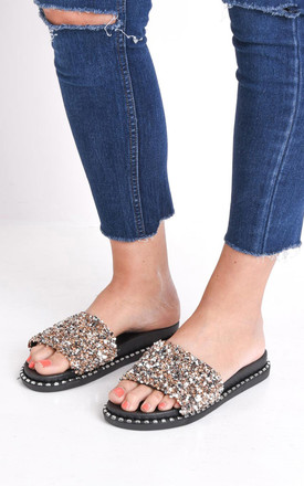 Cluster diamante studded sliders gold by LILY LULU FASHION