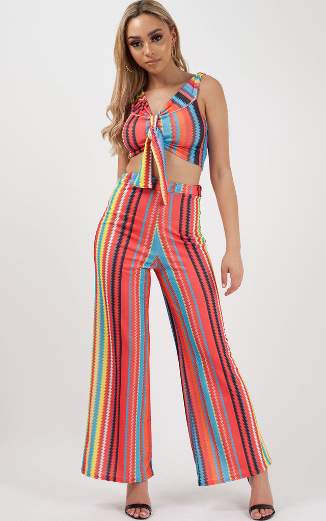 Alani Multi Coloured Crop Top & Trouser Co-ord In Red by Vivichi
